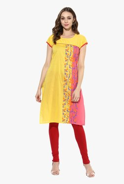 Mytri Yellow Printed Cotton Straight Kurta