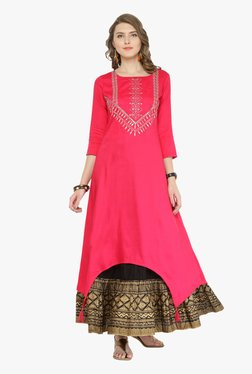 Varanga Pink & Black Embroidered Kurta With Skirt