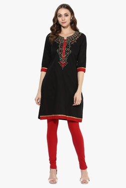 Mytri Black Embroidered Cotton Straight Kurta