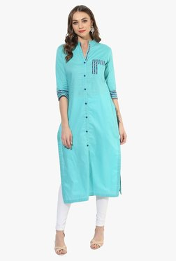 Mytri Sea Green Cotton Straight Kurta