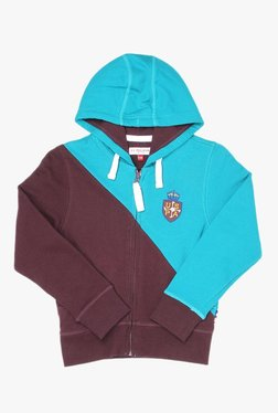 a93a6f0e92a68 US Polo Kids Turquoise   Brown Cut N Sew Hoodie