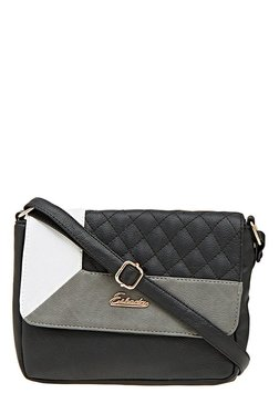 Esbeda Drymilk Black & Grey Stitched Flap Sling Bag