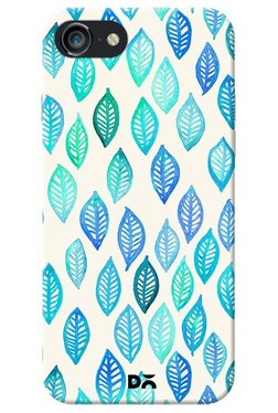 DailyObjects Aqua And Blue Watercolour Leaves Case For IPhone 8