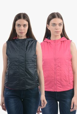 Pepe Jeans Grey & Pink Quilted Reversible Hood Jacket