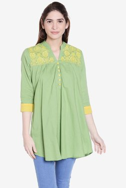Globus Lime Green Embroidered Kurti