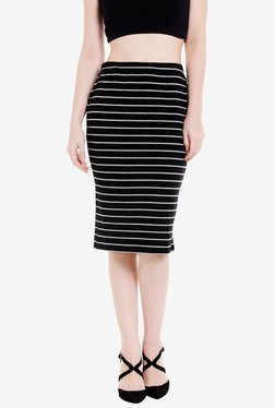 Globus Black Striped Knee Length Skirt