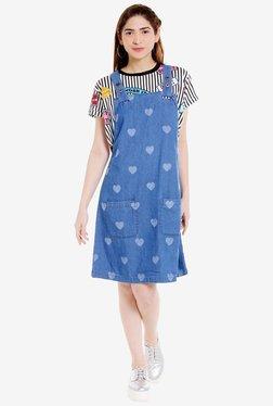 Globus Blue Printed Knee-Length Dress - Mp000000001879892