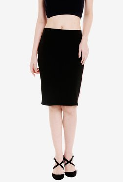 Globus Black Polyester Knee Length Skirt