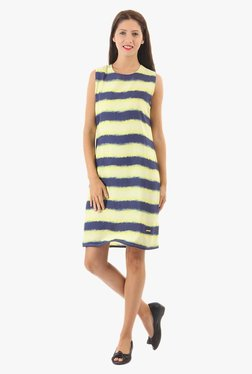 Pepe Jeans Yellow & Navy Striped Above Knee Dress