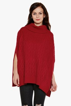 Cayman Red Mock Collar Poncho Shrug e8699eefe