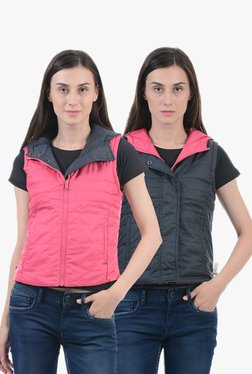 Pepe Jeans Navy & Pink Quilted Reversible Hood Jacket
