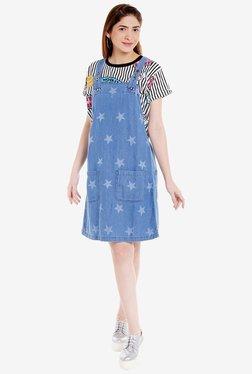 Globus Blue Printed Knee-Length Dress