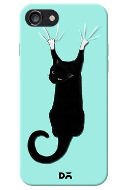 DailyObjects Black Cat On Drapes Case For IPhone 8