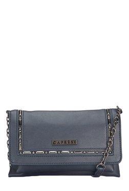 Caprese Aries Greyish Blue Embellished Flap Sling Bag