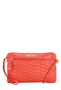 Caprese Phoenix Red Stitched Quilted Sling Bag