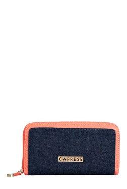 Caprese Denise Coral Pink & Denim Blue Embellished Wallet