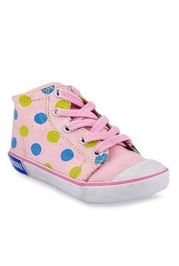 Beanz Carol Baby Pink & Green Ankle High Sneakers