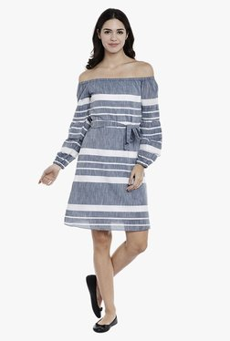 Athena Blue Striped Knee-Length Dress