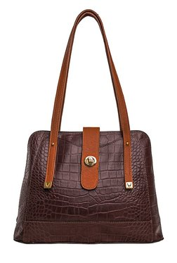 Hidesign SB Atria 3 Dark Brown Textured Leather Shoulder Bag