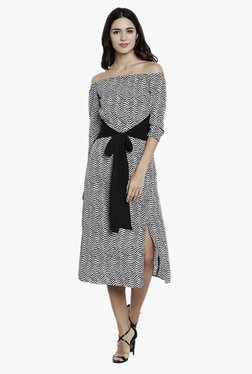 Athena Black Chevron Print Midi Dress With Front Knot