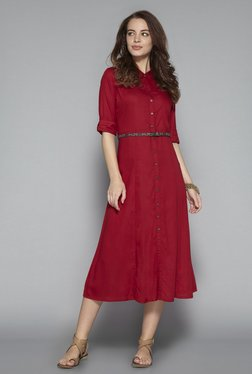 Bombay Paisley By Westside Dark Red Dress With Belt
