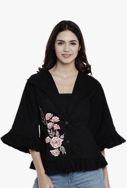 Athena Black Embroidered Denim Jacket