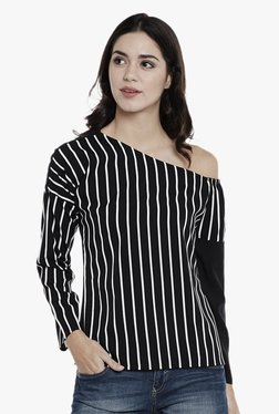 Athena Black Striped One Shoulder Top