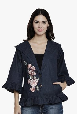 Athena Navy Embroidered Denim Jacket