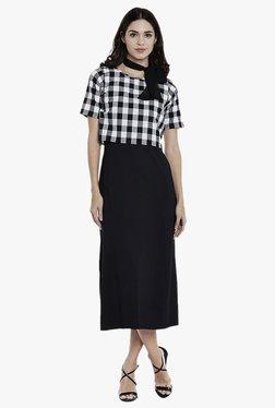 Athena Black Checks Midi Dress