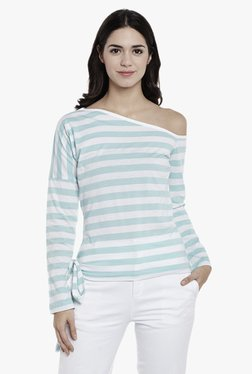 Athena White & Turquoise Striped One Shoulder Top