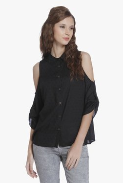 Only Black Embroidered Cold Shoulder Shirt