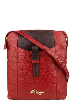Hidesign SB Olivia 3 Red & Brown Textured Leather Sling Bag