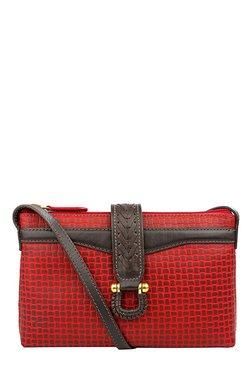 Hidesign SB Frieda W4 Red & Brown Textured Leather Sling Bag