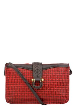 Hidesign SB Frieda W3 Red & Brown Textured Leather Sling Bag