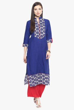 Jaipur Kurti Blue & Red Printed Cotton Kurta With Palazzo