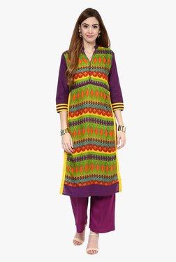Jaipur Kurti Green & Purple Printed Rayon Kurta With Palazzo