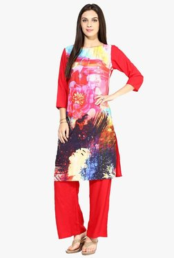 Jaipur Kurti Red Printed Kurta With Palazzo
