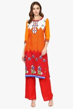 Jaipur Kurti Orange & Red Printed Cotton Kurta With Palazzo - Mp000000001892854