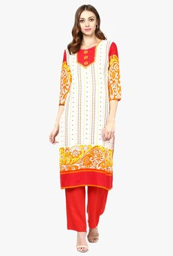 Jaipur Kurti White & Red Printed Cotton Kurta With Palazzo