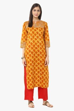 Jaipur Kurti Orange & Red Printed Cotton Kurta With Palazzo