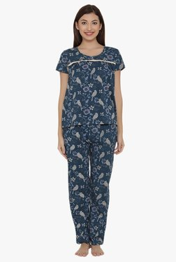 Clovia Green Printed Top & Pyjama Set