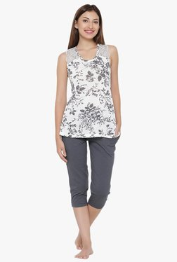 Clovia White & Grey Floral Print Top & Capri Set