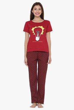 Clovia Red Printed Top & Pyjama Set