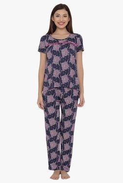 Clovia Navy Printed Top & Pyjama Set
