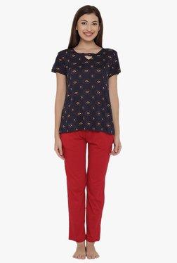 Clovia Navy & Red Printed Top & Pyjama Set