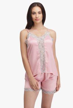 Clovia Pink Lace Spaghetti Top & Shorts