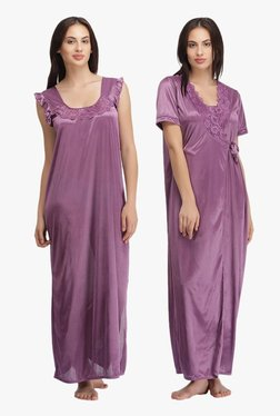 Clovia Purple Satin Nighty & Robe Set