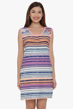 Clovia Multicolor Striped Short Nighty