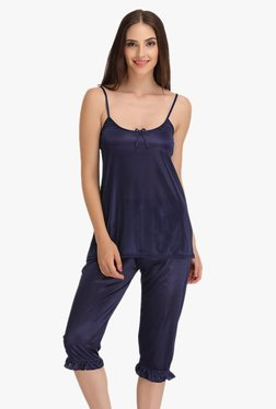 Clovia Navy Scoop Neck Spaghetti Top & Capri Set