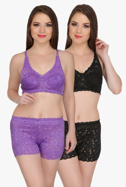 Aruba Eva Purple & Black Bra & Boy Shorts Set (Pack Of 2)